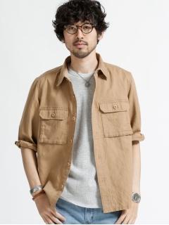 綿麻パッチポケットミリタリーシャツ 7S
