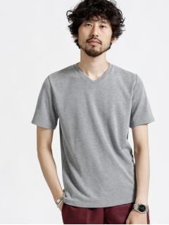 ジャガードリップルVネックTシャツ