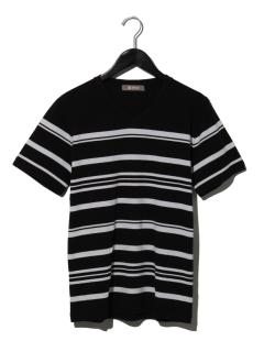 【NUカジュアル】パネルボーダーVネックTシャツ