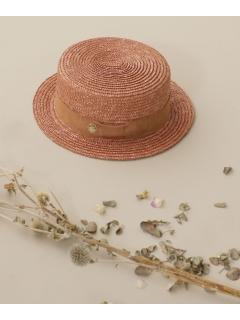 【WHIP CREAM】別注チャーム付きリボンカンカン帽 キャメル