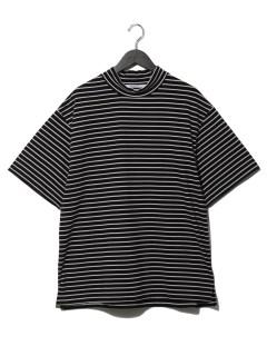 細ボーダーモックネック天竺Tシャツ
