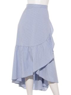 ラップ風フリルストライプスカート