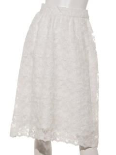 裾スカラオーガンジー刺繍スカート