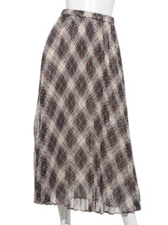 シフォンチェックプリーツスカート