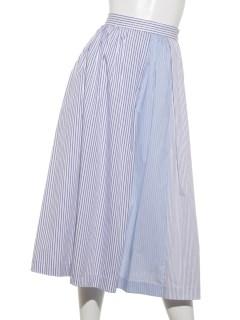 ストライプ切替ギャザースカート