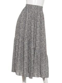 小花柄変形ティアードスカート
