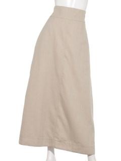 麻混ヘリンボーンロングスカート