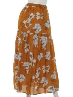 大花柄ティアードロングスカート