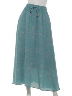 単色ボタニカル柄マキシスカート
