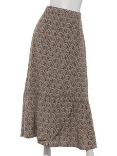 デシンアラベスク柄ロングスカート