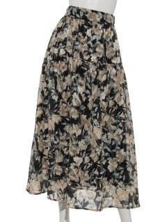レトロフラワーロングギャザースカート