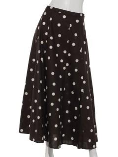 綿麻ドットプリントフレアスカート