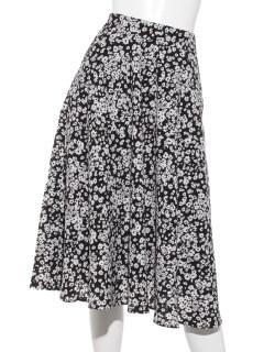 単色小花柄フレアスカート