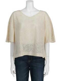 インド綿刺繍フレア袖ブラウス