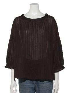 袖刺繍スタンドカラ―ブラウス