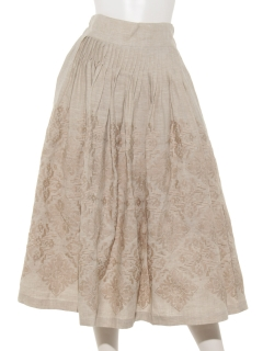 TSUHARUリネンクロスモチーフ刺繍スカート