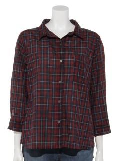 綿麻チェック7分袖ワイヤーシャツ