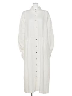 TSUHARU刺繍入りスタンド衿ワンピース