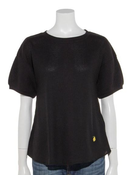 69%OFF Samansa Mos2 (サマンサ モスモス) レモン刺繍入りワッフル半袖カットソー ブラック
