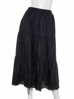 裾スカラップティアードスカート