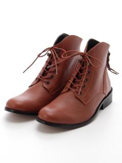 【London Shoe Make】本革ショートブーツ レースアップ バックファスナー