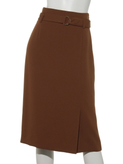 ベルト付バツクサテンスカート