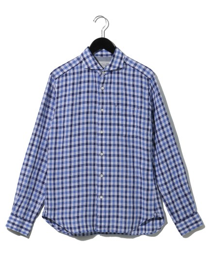 65%OFF NOLLEY'S OUTLET (ノーリーズアウトレット) リネン カッタウェイ シャツ ブルー系柄