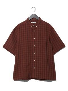 リネンチェック半袖シャツ
