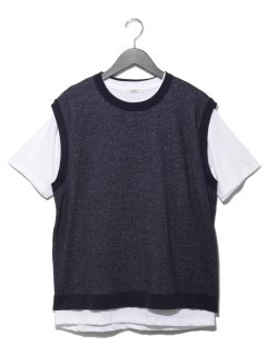 インナーTシャツ付キ レイヤードニットベスト