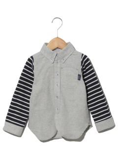 【ベビー】ボーダースリーブボタンダウンシャツ