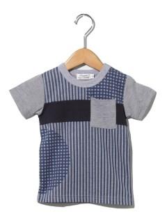 配色切り替えストライプギンガムTシャツ