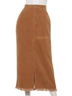 コーデュロイフリンジタイトスカート