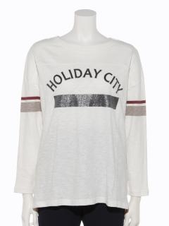 カレッジロゴプリントロングTシャツ