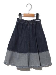 裾切替デニムスカート