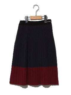 バイカラーニットリブスカート