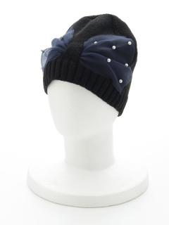チュール×ニット帽