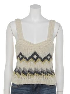 柄編みベアトップ