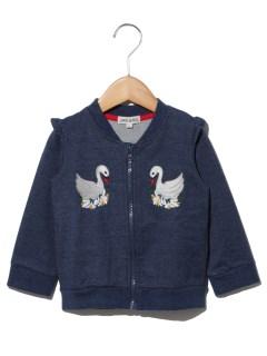デニムジャージスワン刺繍ジャケット