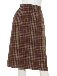 フロント釦チェックタイトスカート