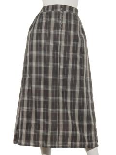 チェックチビ釦スカート