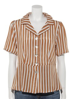ストライプオープンカラーペプラムシャツ
