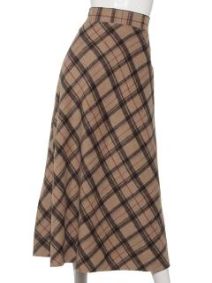 シャギーチェックロングスカート