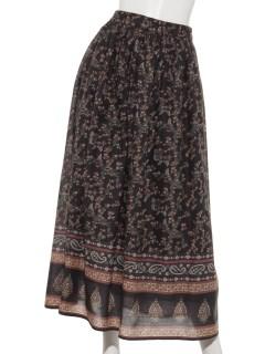 インドプリントギャザースカート