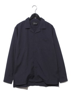 無地オープンカラー長袖シャツ