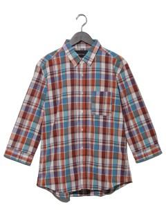 マドラスチェック7分袖シャツ