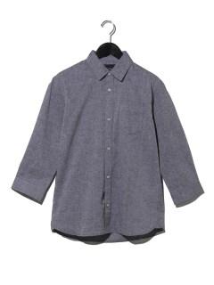 綿麻レギュラーカラー7分袖シャツ