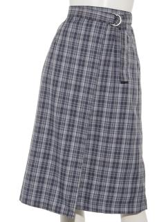 チェック柄ラップスカート