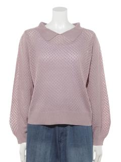 衿付透かし編みプルオーバー