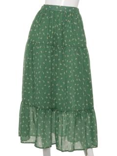 小花柄ティアードスカート