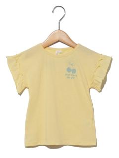 袖フリルチェリープリントTシャツ